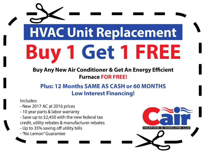 picture of buy one get one Cair HVAC Coupons