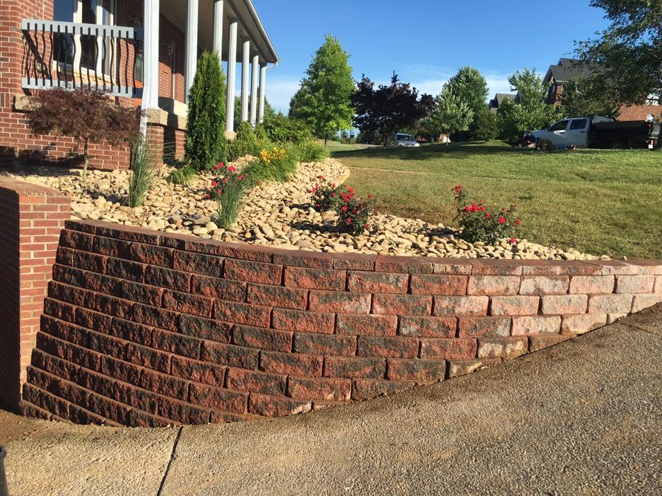 Retaining wall driveway